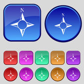Compass sign icon. Windrose navigation symbol. Set colourful buttons. Vector — Vector de stock
