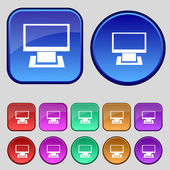 Computer widescreen monitor sign icon. Set colourful buttons. Modern UI website navigation. — 图库矢量图片