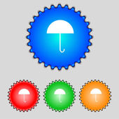 Umbrella sign icon. Rain protection symbol. Set colourful buttons. Vector — 图库矢量图片