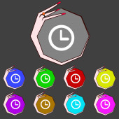 Clock sign icon. Mechanical symbol. Set colourful buttons. Vector — 图库矢量图片