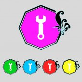 Wrench key sign icon. Service tool symbol. Set colourful buttons. Vector — 图库矢量图片