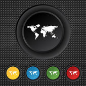 Globe sign icon. World map geography symbol. Set colourful buttons. Vector — 图库矢量图片