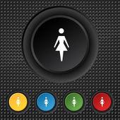 Vrouwelijke teken pictogram. vrouw mens symbool. vrouwen toilet. kleur knoppen instellen vector — Stockvector