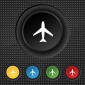 Airplane sign. Plane symbol. Travel icon. Flight flat label. Set colourful buttons. Vector — Stock Vector