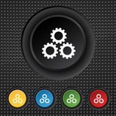 Cog settings sign icon. Cogwheel gear mechanism symbol. Set colourful buttons. Vector — 图库矢量图片