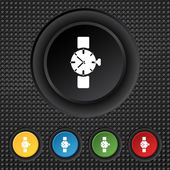 Wrist Watch sign icon. Mechanical clock symbol. Set colourful buttons. Vector — 图库矢量图片