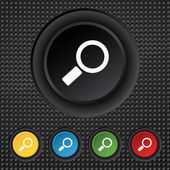 Magnifier glass sign icon. Zoom tool button. Navigation search symbol. Set colourful buttons. Vector — Vector de stock