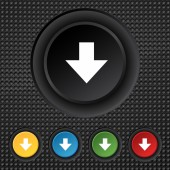 Download sign. Downloading flat icon. Load label. Set colourful buttons Vector — Stock Vector