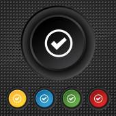 Check mark sign icon . Confirm approved symbol. Set colourful buttons. Vector — Stok Vektör
