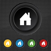 Home sign icon. Main page button. Navigation symbol. Set colourful buttons. Vector — 图库矢量图片