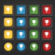 Winner cup sign icon. Awarding of winners symbol. Trophy. Set colourful buttons Vector — Stock Vector #53666609