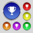 Winner cup sign icon. Awarding of winners symbol. Trophy. Set colourful buttons Vector — Stock Vector #53666993