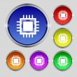 Central Processing Unit Icon. Technology scheme circle symbol. Set colourful buttons. Vector — Stock Vector #53667149