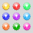 Winner cup sign icon. Awarding of winners symbol. Trophy. Set colourful buttons Vector — Stock Vector #53669341
