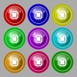 Central Processing Unit Icon. Technology scheme circle symbol. Set colourful buttons. Vector — Stock Vector #53669791