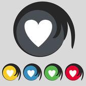 Heart sign icon. Love symbol. Set colur buttons. Vector — Stock Vector