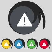 Attention sign icon. Exclamation mark. Hazard warning symbol. Set colourful buttons Vector — Stock Vector