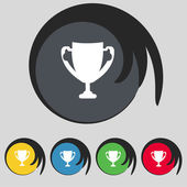 Winner cup sign icon. Awarding of winners symbol. Trophy. Set colourful buttons Vector — Stock Vector