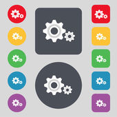 Cog settings sign icon. Cogwheel gear mechanism symbol. Set colourful buttons. Vector — Stock Vector