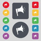 Megaphone soon icon. Loudspeaker symbol. Set colur buttons. Vector — Stock Vector