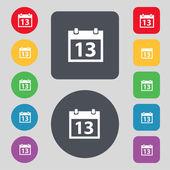 Calendar sign icon. days month symbol. Date button. Set colur buttons. Vector — Vector de stock