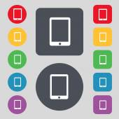 タブレットの記号アイコン。スマート フォンのボタン。colur ボタンを設定します。ベクトル — ストックベクタ