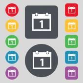 Calendar sign icon. 1 day month symbol. Date button. Set colourful buttons Vector — Vector de stock