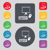 Computer widescreen monitor, keyboard, mouse sign icon. Set colourful buttons. Vector — Stock Vector