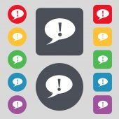 Exclamation mark sign icon. Attention speech bubble symbol. Set colourful buttons. Vector — Stockvektor