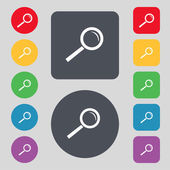 Magnifier glass sign icon. Zoom tool button. Navigation search symbol. Set colourful buttons. Vector — Stock Vector