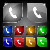 Phone sign icon. Support symbol. Call center. Set colourful buttons Vector — Vector de stock