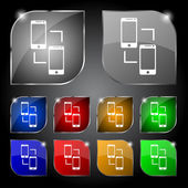 Synchronization sign icon. smartphones sync symbol. Data exchange. Set colur buttons. Vector — Vector de stock