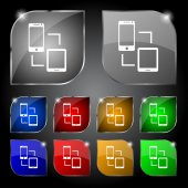 Synchronization sign icon. communicators sync symbol. Data exchange. Set colur buttons. Vector — Wektor stockowy