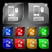 Smartphone widescreen monitor, keyboard, mouse sign icon. Set colourful buttons. Vector — Wektor stockowy