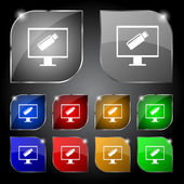 Usb flash drive and monitor sign icon. Video game symbol. Set colourful buttons. Vector — Vetorial Stock