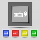 Computer keyboard and mouse Icon. Set colourful buttons. Vector — Wektor stockowy