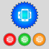 Synchronization sign icon. smartphones sync symbol. Data exchange. Set colur buttons. Vector — Wektor stockowy