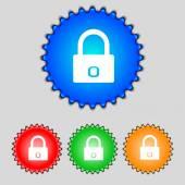 Lock sign icon. Locker symbol. Set colur buttons. Vector — Stock Vector