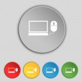 Computer widescreen monitor, mouse sign icon. Set colourful buttons. Vector — Wektor stockowy