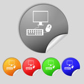Computer widescreen monitor, keyboard, mouse sign icon. Set colourful buttons. Vector — Wektor stockowy