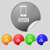 Computer keyboard and smatphone Icon. Set colourful buttons. Vector — Wektor stockowy
