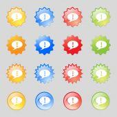 Teken uitroepteken. aandacht toespraak bubble symbool. kleurrijke knoppen instellen vector — Stockvector