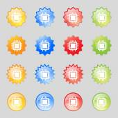 Central Processing Unit Icon. Technology scheme circle symbol. Set colourful buttons. Vector — Stock Vector