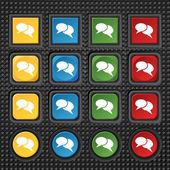 ícones de bolha do discurso. acho que a nuvem de símbolos. conjunto de botões coloridos. vector — Vetor de Stock
