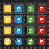 Graphical decorative bows. Set colourful buttons. Vector — Cтоковый вектор