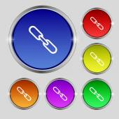 Link sign icon. Hyperlink chain symbol. Set colourful buttons. Vector — Stock Vector