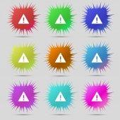 Ikona podepsat pozornost. vykřičník. výstražný symbol nebezpečnosti. nastavit barevné knoflíky vektor — Stock vektor