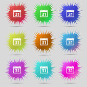 Calendar sign icon. 31 day month symbol. Date button. Set colourful buttons Vector — Stok Vektör