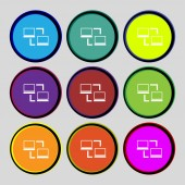 Synchronization sign icon. Notebooks sync symbol. Data exchange. Set colur buttons. Vector — Stockvector