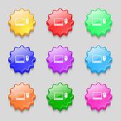 Computer widescreen monitor, mouse sign icon. Set colourful buttons. Vector — Stockvector